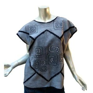 Painted Gray Suede Crochet Pullover Top Artsy Design Patchwork Leather - Large